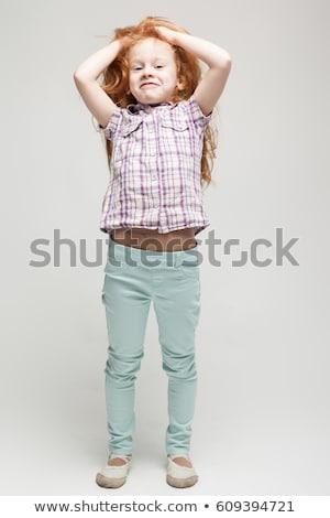Aanbiddelijk cute meisje shirt Stockfoto © Traimak