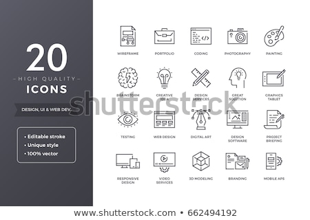 Reszponzív web design vonal ikon sarkok háló Stock fotó © RAStudio