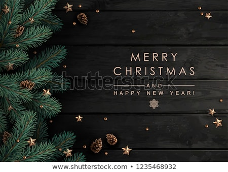 Christmas border with fir tree branches, cones and christmas dec Stock photo © vlad_star