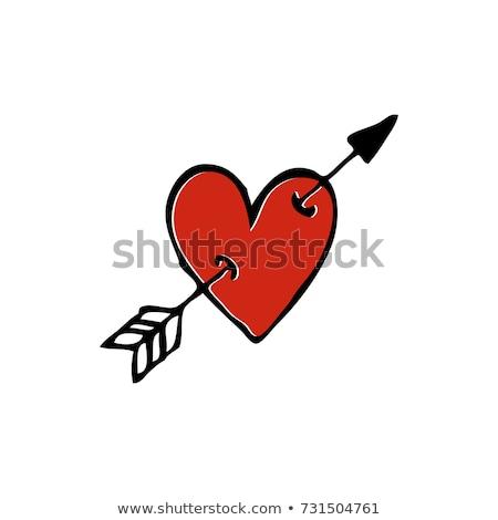 Heart with arrow Tattoo symbol of love. Linear style Stock photo © popaukropa