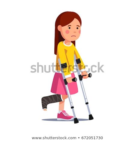 Criança menina estudante muleta ilustração little girl Foto stock © lenm