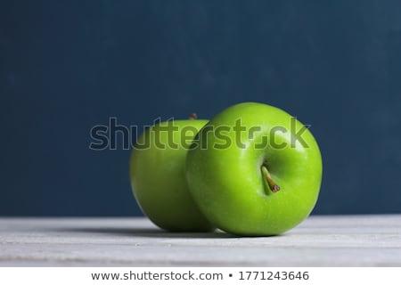 dwa · zielone · jabłka · uśmiechnięty · płacz · biały - zdjęcia stock © digifoodstock