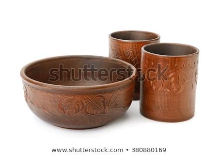 kavanoz · çanak · çömlek · yalıtılmış · beyaz · turuncu · içmek - stok fotoğraf © valeriy