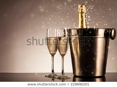 rij · champagne · fles · wijn · glas - stockfoto © dashapetrenko