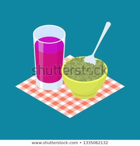 Green Lentil Porridge and fruit juice. Breakfast Healthy food. V Stock photo © MaryValery
