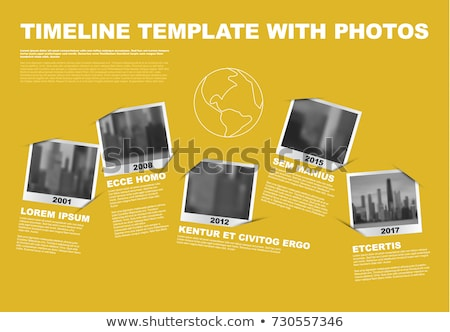 Vector Infographic Company Milestones Timeline Template with circle photo placeholders on colorful l Stock photo © orson
