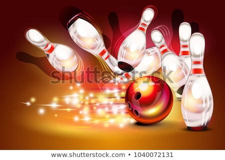 Bowling gry strajk ciemne czerwony bowling ball Zdjęcia stock © tilo