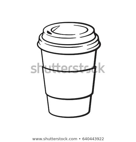 紙 · コーヒーカップ · 白 · コーヒー · 背景 · 茶 - ストックフォト © rastudio