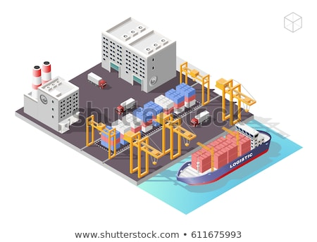 Sea shipping logistics isometric 3D elements Stock photo © studioworkstock