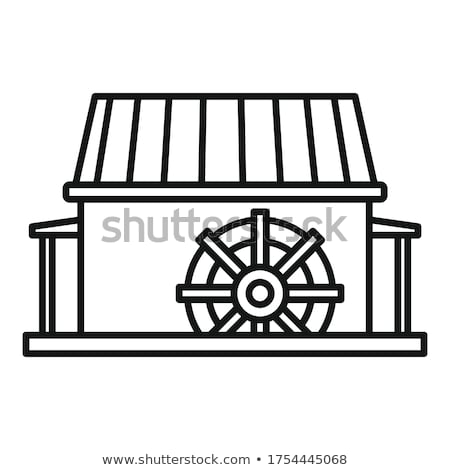 Old water mill building isolated icon Stock photo © studioworkstock