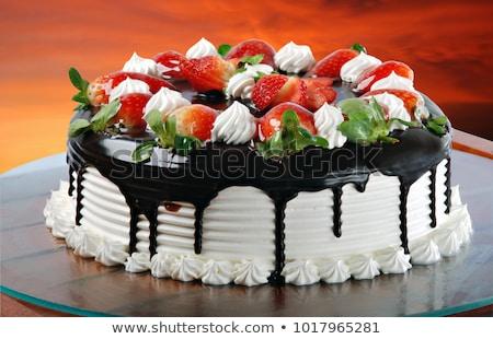 Mały wanilia czekolady truskawek ciasta Zdjęcia stock © mpessaris