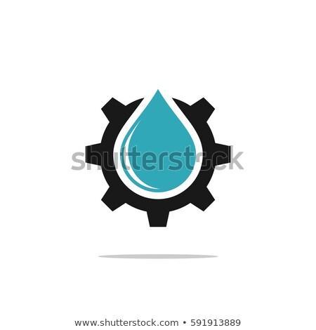 Sanitair icon versnelling waterdruppel ontwerp technologie Stockfoto © djdarkflower