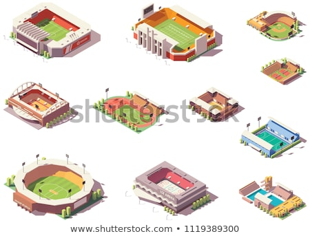 vector low poly volleyball stadium stock photo © tele52