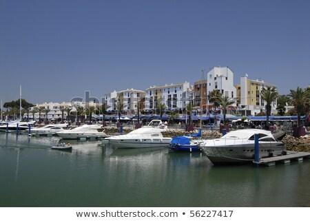 Tropikalnych hotel silnikowych łodzi portu plaży Zdjęcia stock © konradbak