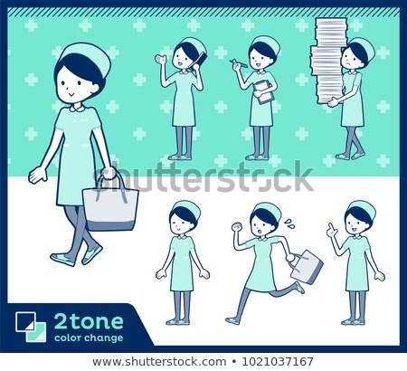 2tone type Nurse wear women_set 02 Stock photo © toyotoyo