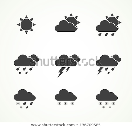 Cloud and lightning symbol. Thunderstorm sign. Storm weather ico Stock photo © MaryValery