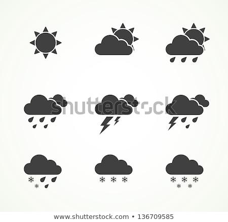 Wolk bliksem symbool onweersbui teken storm Stockfoto © MaryValery