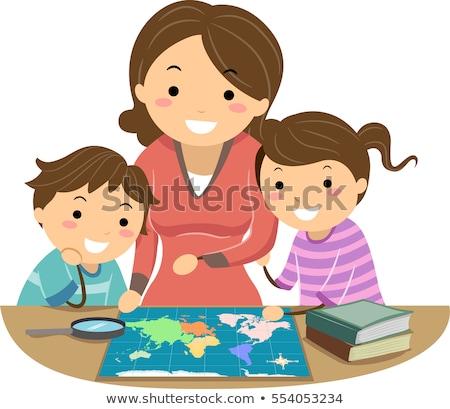 Familie aardrijkskunde boek illustratie lezing kinderen Stockfoto © lenm