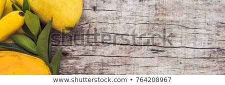 マンゴー バナナ パイナップル 青 木製 コピースペース ストックフォト © artjazz