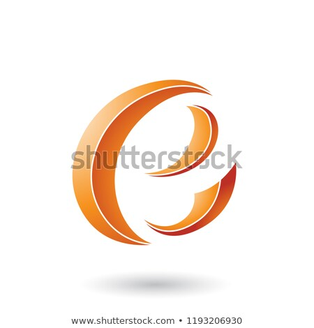 Stock photo: Orange Striped Crescent Shape Letter E Vector Illustration