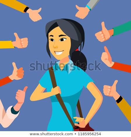 Thumbs Up Business Woman Vector. Public Approval. Asian Worker. Surrounded By Hands. Business Illust Stock photo © pikepicture