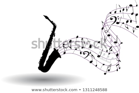 music notes and saxophone stock photo © artspace