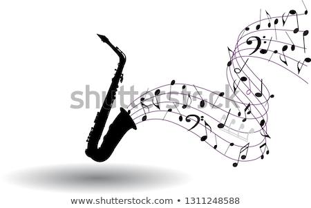 Muziek merkt saxofoon roze Blauw aquarel textuur Stockfoto © Artspace