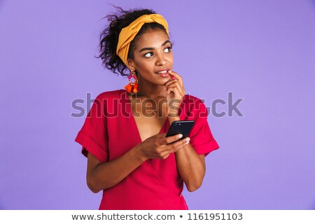 Mistero african donna abito smartphone Foto d'archivio © deandrobot