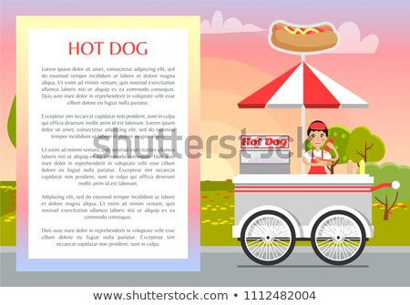 Perro caliente anunciante texto muestra marco vendedor Foto stock © robuart