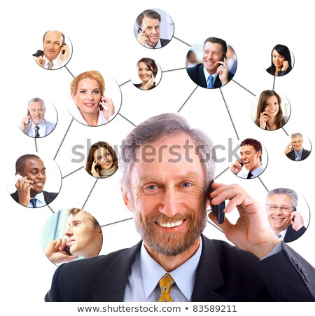 Business collage with scene of business person at work Stock photo © alphaspirit