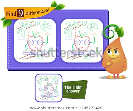 find 9 differences apple newton Stock photo © Olena