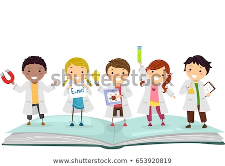 Kids Physics Books Lab Gowns Illustration Stock photo © lenm