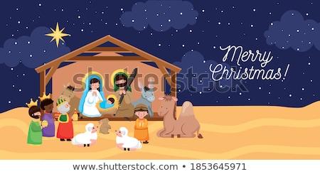 nativity christmas bethlehem star cartoon scene stock photo © krisdog