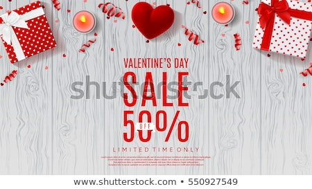 Valentine's Day sale background. Top view on composition with gift box and rose petals, vector illus Stock photo © ikopylov