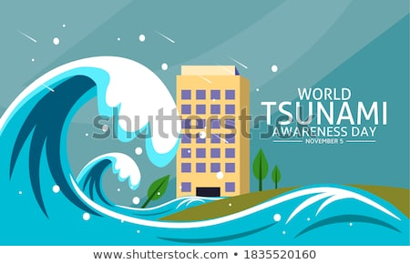 Tsunami praia ilustração água árvore mar Foto stock © bluering
