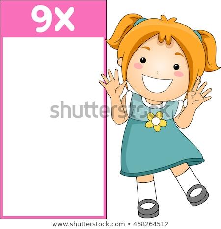 meisje · tien · tabel · sjabloon · illustratie · hand - stockfoto © colematt