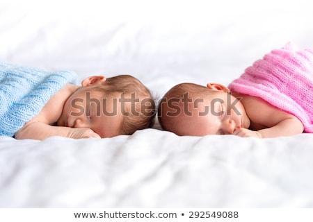 Portret twee jonge gelukkig tweeling broers Stockfoto © deandrobot
