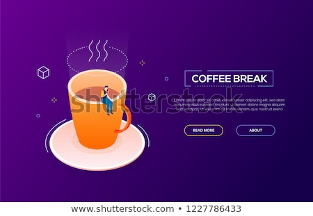 Coffee break - modern isometric vector web banner Stock photo © Decorwithme