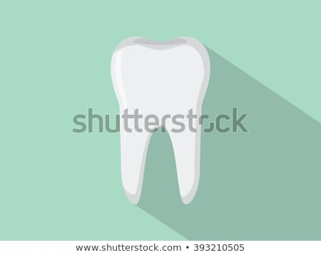 Tooth flat icon with shadow on a blue background Stock photo © Imaagio