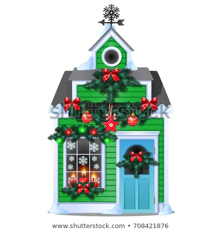 Christmas souvenir in the form of house in a glass ball isolated on white background. Vector cartoon Stock photo © Lady-Luck