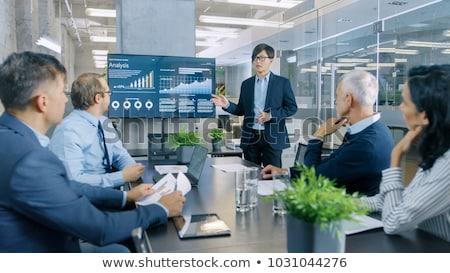 rajz · üzletasszony · magyaráz · üzlet · terv · művészet - stock fotó © tele52