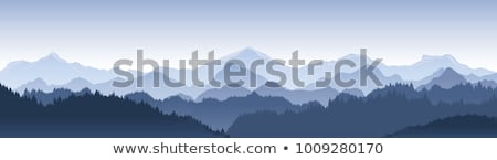 Stockfoto: Blauw · landschap · silhouetten · bomen · bergen · hemel