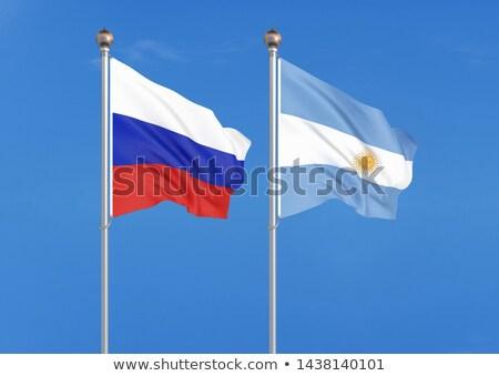 Twee vlaggen Rusland Argentinië geïsoleerd Stockfoto © MikhailMishchenko