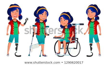 Asian Girl Kid Poses Vector. School Child. Disabled. Amputation Prosthesis. Smile, Activity, Beautif Stock photo © pikepicture