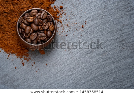 Café cartão copo fresco grãos de café pedra Foto stock © DenisMArt