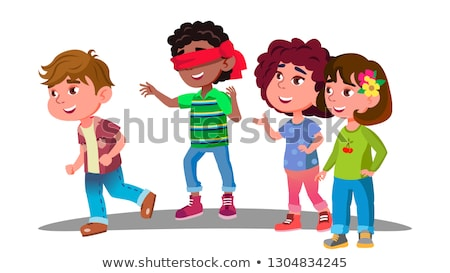 Blindfolded Little Boy Trying To Catch Other Children During Play Vector. Isolated Illustration Stock photo © pikepicture
