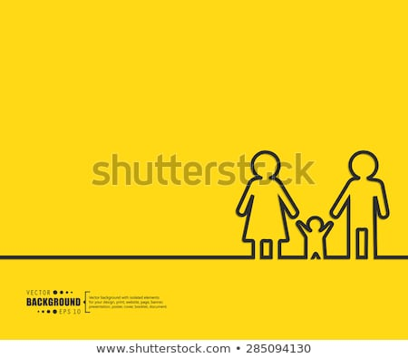 Family Parent and Kids Poster Vector Illustration Stock photo © robuart