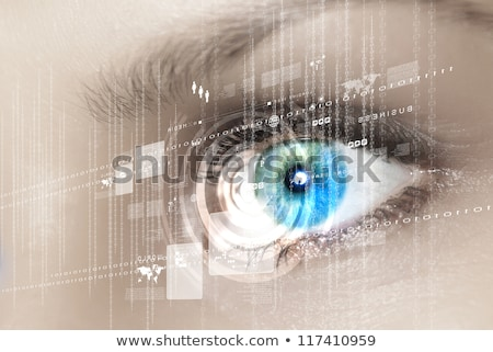 abstract futuristic digital technology eye with binary circles and motherboard lines, concept of cyb Stock photo © kyryloff