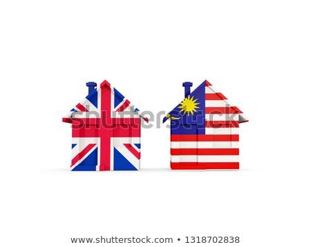 два домах флагами Великобритания Малайзия изолированный Сток-фото © MikhailMishchenko