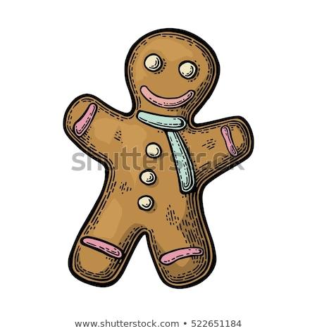 gingerbread · man · cookie · klassiek · christmas · gezicht · man - stockfoto © netkov1